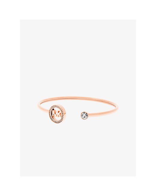 Michael Kors | Pink Fulton Pavé Rose Gold-tone Logo Cuff | Lyst