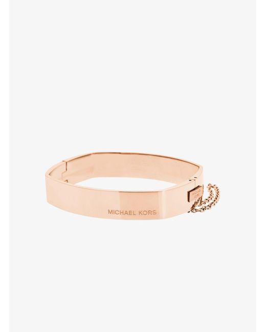 Michael Kors | Pink Rose Gold-tone Square Hinge Bangle | Lyst