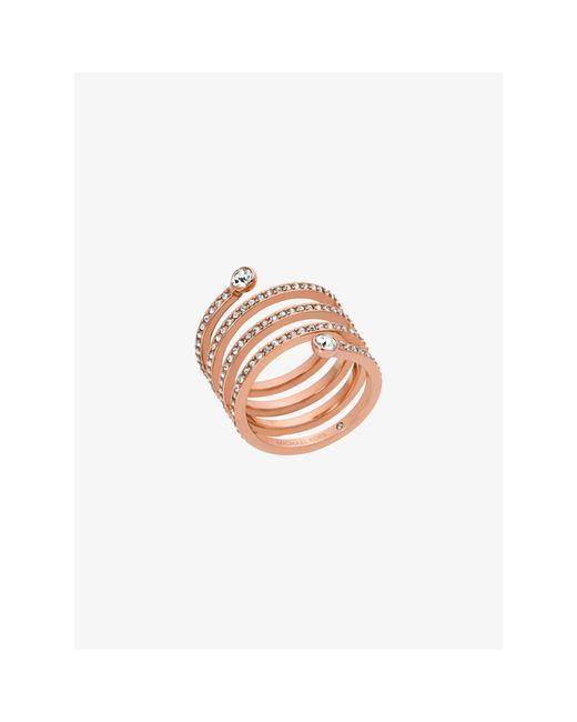 Michael Kors | Pink Pavé Rose Gold-tone Coil Ring | Lyst