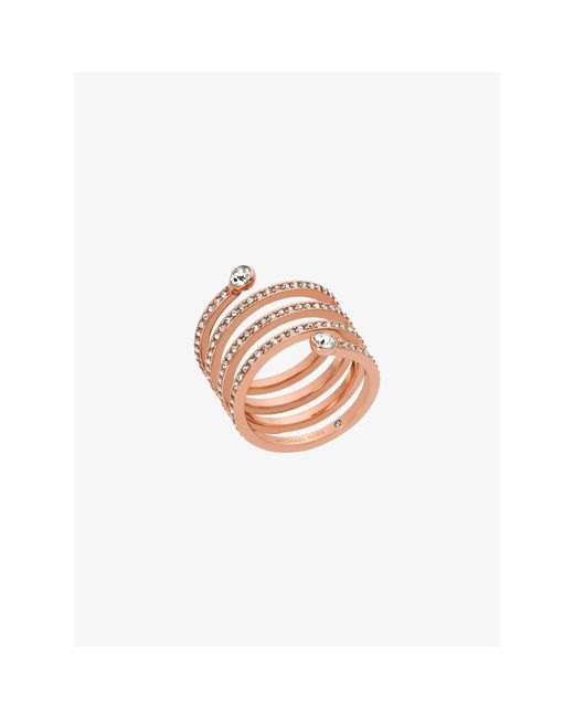 Michael Kors   Pink Pavé Rose Gold-tone Coil Ring   Lyst