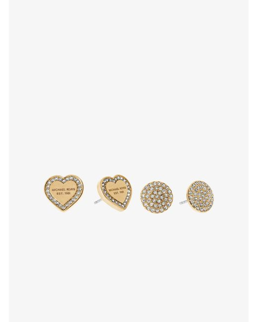 Michael Kors | Metallic Gold-tone Stud Earrings Set | Lyst