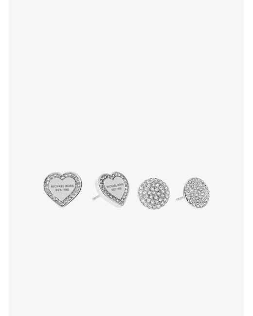 Michael Kors | Metallic Silver-tone Stud Earrings Set | Lyst