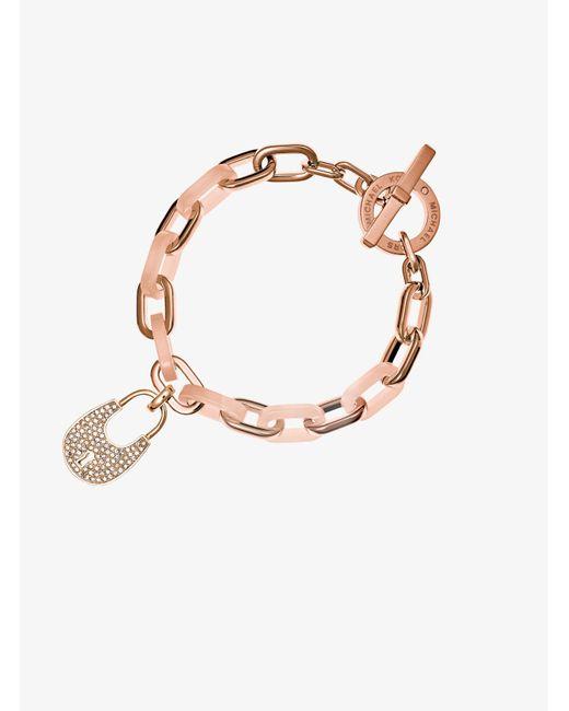 Michael Kors | Brown Padlock Rose Gold-tone Toggle Bracelet | Lyst