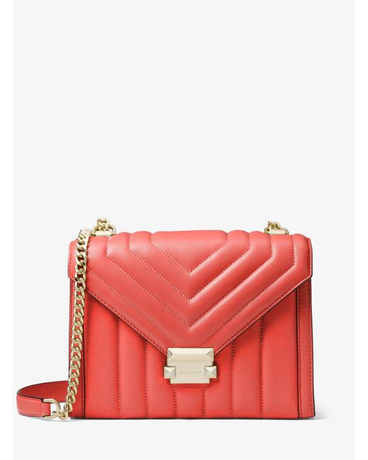 MICHAEL Michael Kors Pink Whitney Large Quilted Leather Convertible Shoulder Bag