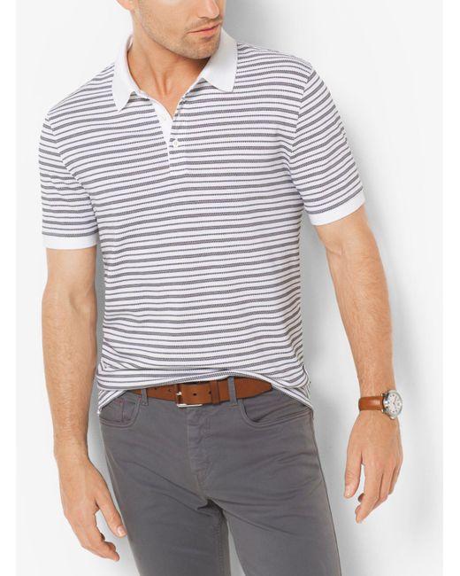 Michael Kors | White Striped Jacquard Polo Shirt for Men | Lyst