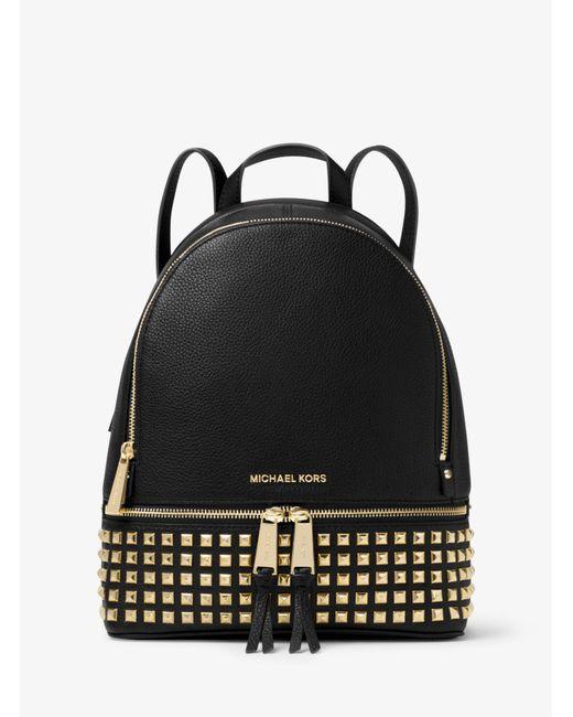 Michael Kors - Black Rhea Small Studded Leather Backpack - Lyst