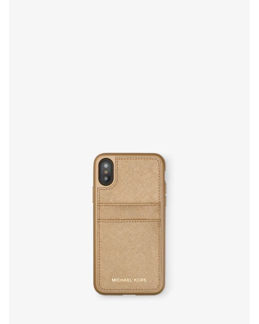 Michael Kors - Metallic Saffiano Leather Phone Case For Iphone X - Lyst