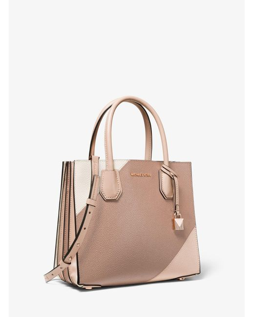 ee30a00598ad40 MICHAEL Michael Kors. Women's Pink Mercer Medium Tri-color Pebbled Leather  Accordion Tote