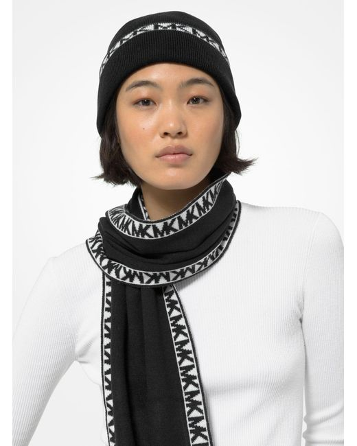 Michael Kors Black Logo Trim Beanie Hat