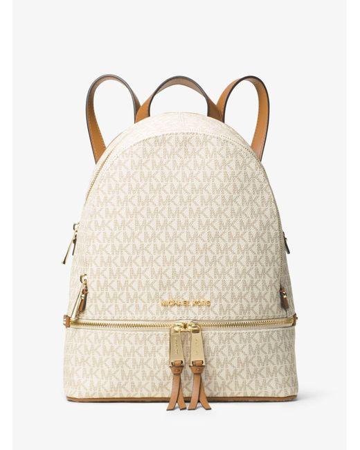 f46d6dbabb44 Michael Kors Rhea Medium Logo Backpack in Natural - Save 37% - Lyst