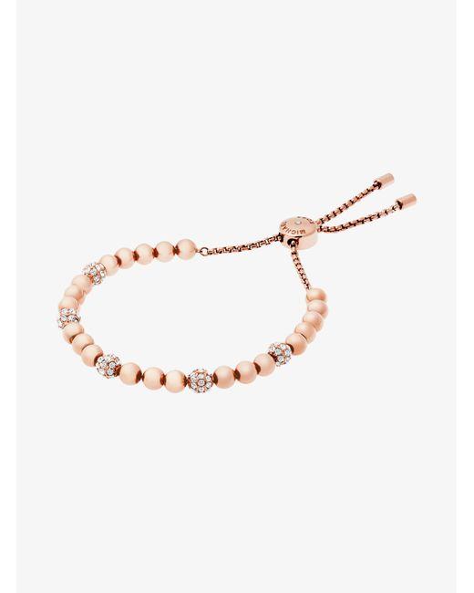 Michael Kors - Metallic Rose Gold-tone Slider Bracelet - Lyst