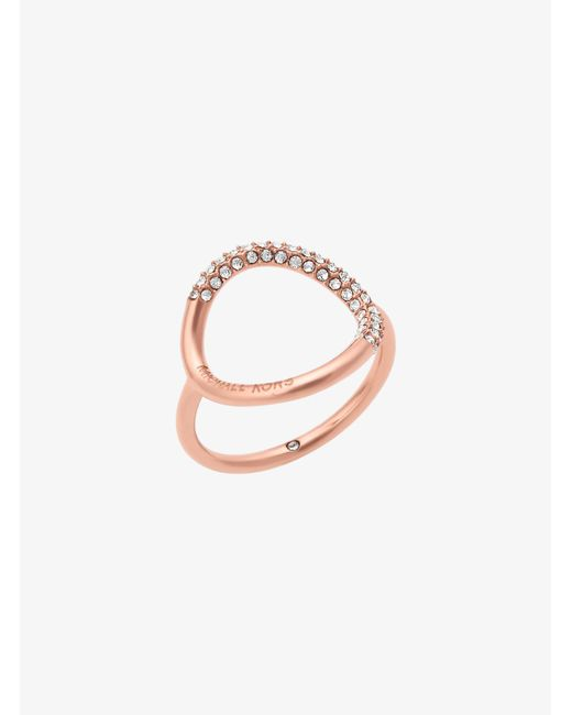 Michael Kors - Multicolor Rose Gold-tone Pave Ring - Lyst