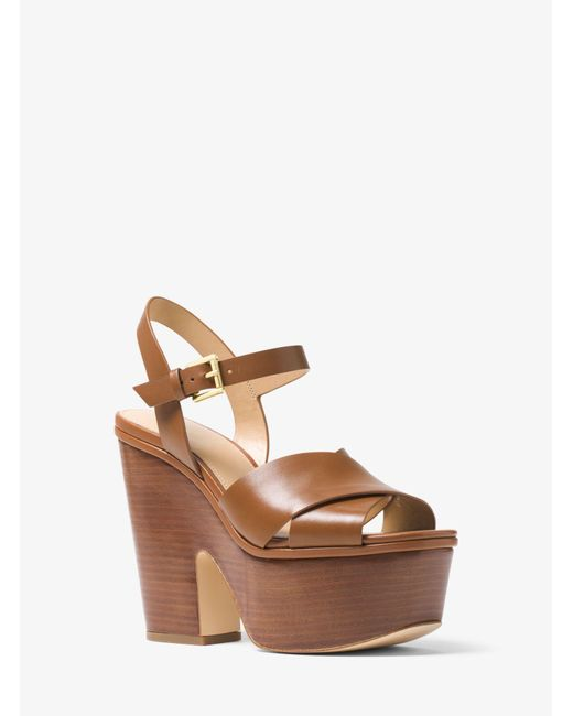 Michael Kors - Brown Divia Leather Platform Sandal - Lyst