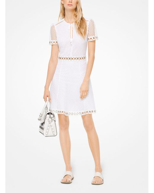 178bb2f6ddb ... Michael Kors - White Grommeted Dot Lace Dress - Lyst ...