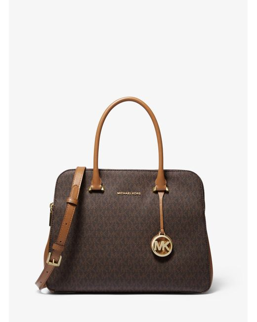 0725575d51c Michael Kors - Brown Houston Medium Logo Satchel - Lyst ...