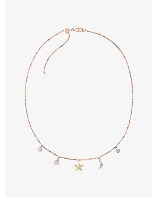 Michael Kors - Metallic Rose Gold-tone Celestial Charm Necklace - Lyst