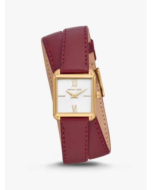 Michael Kors - Metallic Lake Gold-tone And Leather Wrap Watch - Lyst