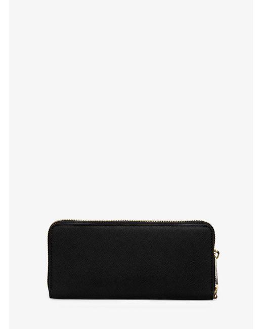 Michael Kors | Black Jet Set Travel Leather Continental Wristlet | Lyst