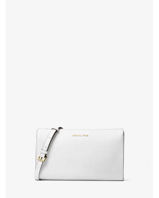 Michael Kors White Jet Set Large Saffiano Leather Convertible Crossbody Bag
