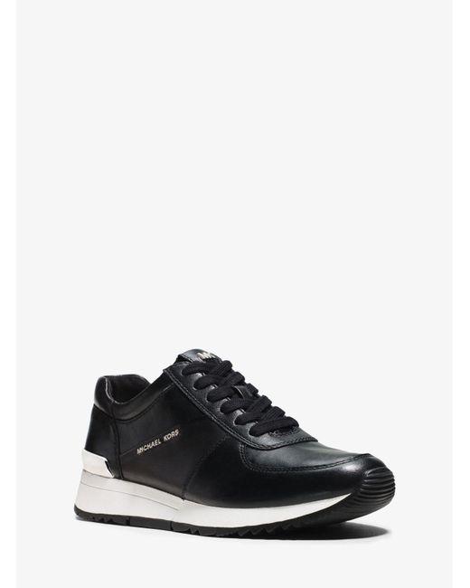 Michael Kors | Black Allie Leather Sneaker | Lyst