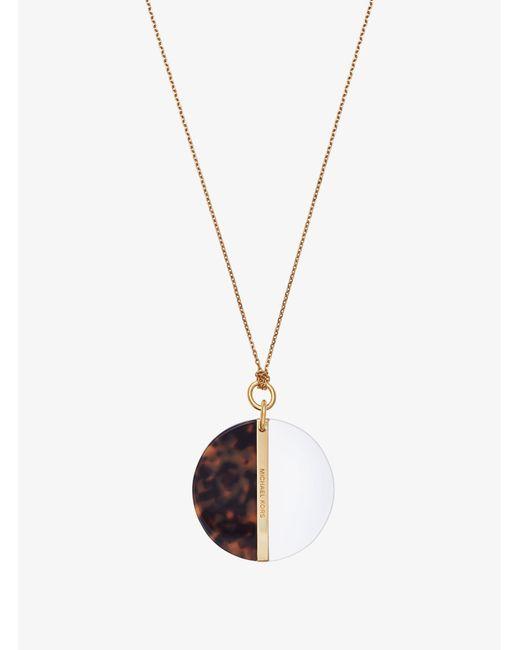 Michael Kors - Brown Pavé Gold-tone Pyramid Pendant Necklace - Lyst
