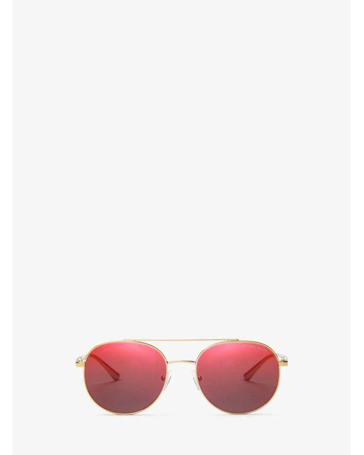 Michael Kors - Red Lon Rounded Aviator Sunglasses - Lyst