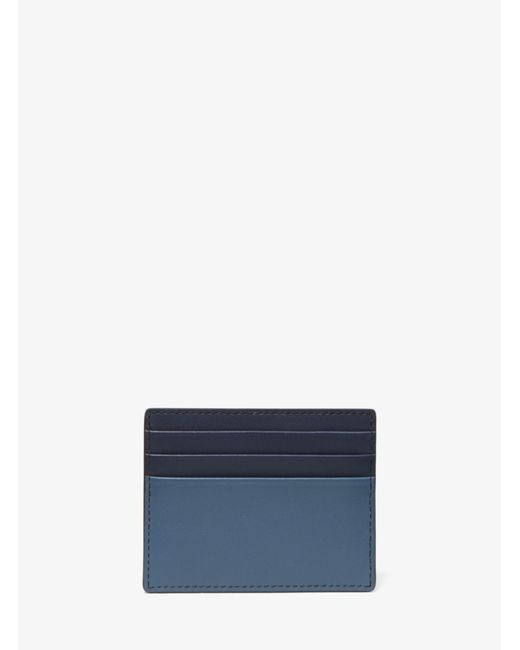 f01257cd61b7 Lyst - Michael Kors Odin Tall Leather Card Case in Blue for Men
