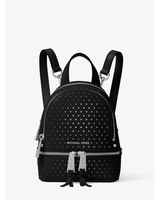 Michael Kors | Black Rhea Mini Perforated Leather Backpack | Lyst