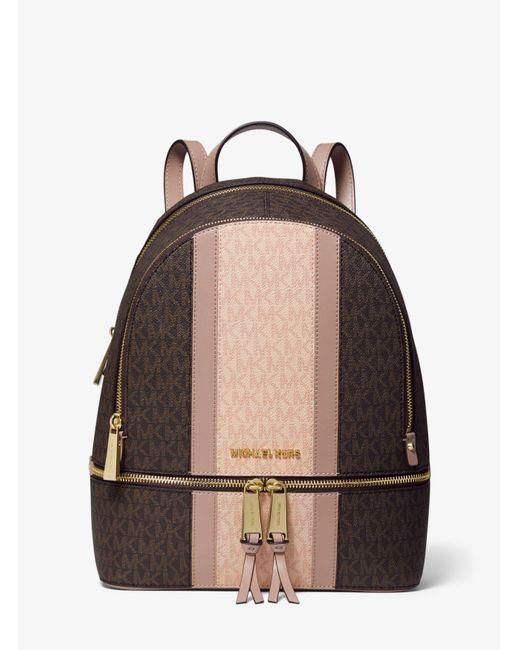 Michael Kors Brown Rhea Medium Striped Logo And Leather Backpack