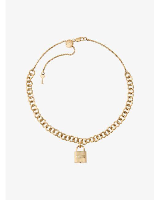 Michael Kors - Metallic Gold-tone Chain-link Padlock Pendant Necklace - Lyst
