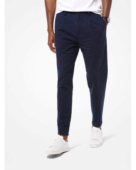 Michael Kors - Blue Pantalón de algodón elástico texturizado for Men - Lyst