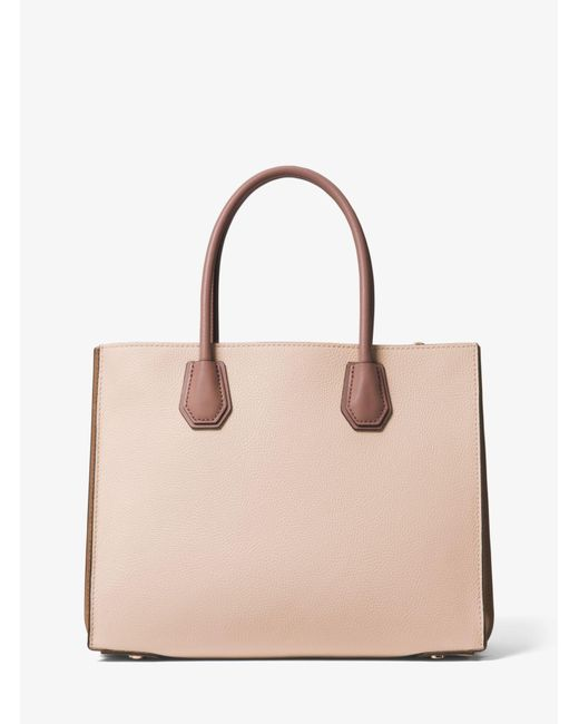 4061a4b62138 ... Michael Kors - Pink Mercer Large Pebbled Leather Accordion Tote - Lyst  ...