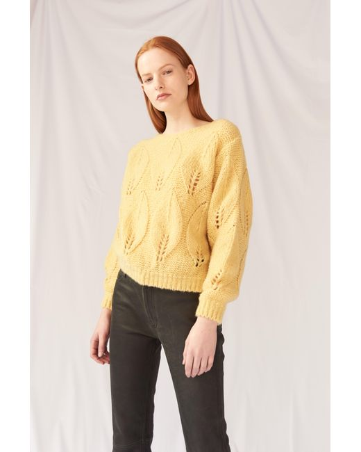 MiH Jeans - Yellow Lacey Leaf Knit Sweater - Lyst