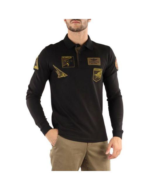 Polo Shirt di Aeronautica Militare in Black da Uomo