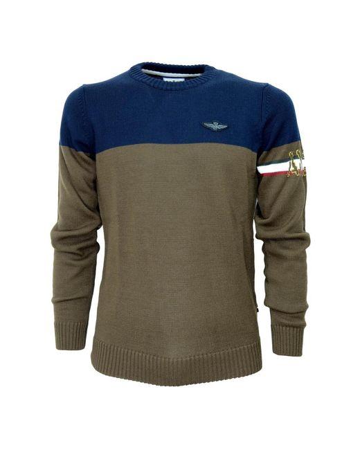 Aeronautica Militare Ma1307 Two-tone Sweater in het Blue voor heren