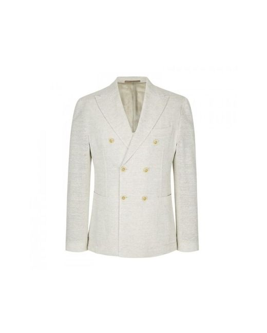 Eleventy Double Breasted Jacket With Spear Point in het White voor heren