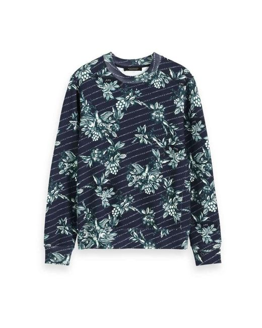 Scotch & Soda Crewneck Sweat With Toile-de-jouy Sweaters Blauw in het Green voor heren