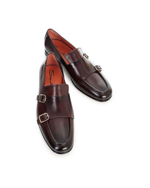 Loafers W/double Buckle Santoni pour homme en coloris Brown