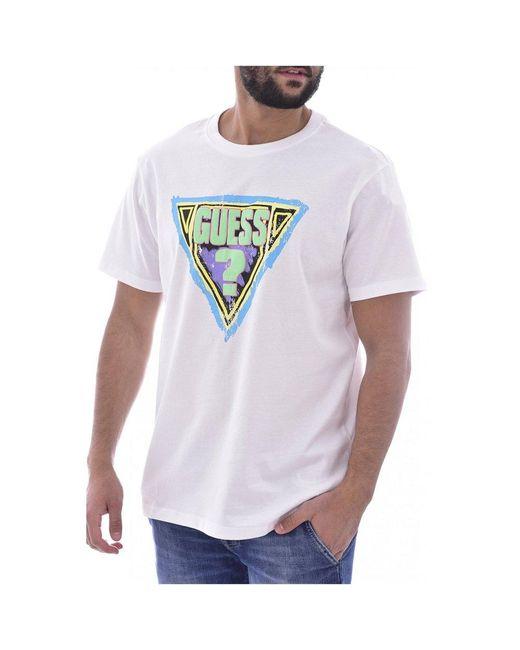 Guess T-shirt En Coton Bio À Gros Logo in het White voor heren