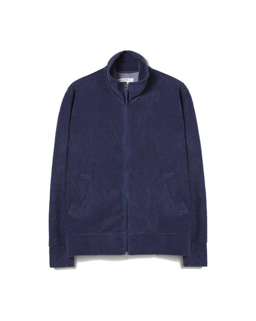 Universal Works Zip Through Sweatshirt in het Blue voor heren