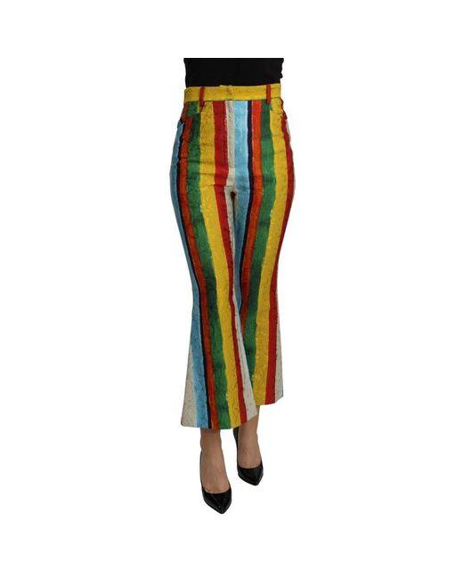 Dolce & Gabbana Flared Brocade Pants in het Multicolor