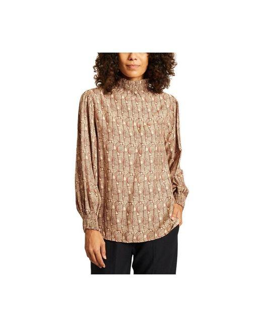 Diega Tamina Long Sleeves Printed Top in het Brown