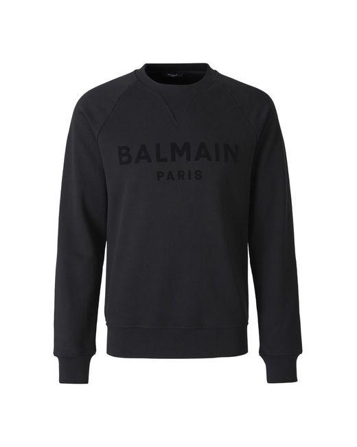 Balmain Sweatshirt Met Logo Op De Raglanmouwen in het Black voor heren