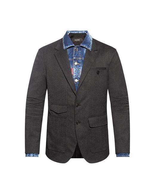 DSquared² Blazer With Denim Trim in het Gray voor heren