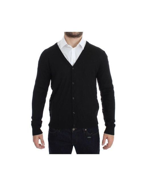 John Galliano Wool Button Down Logo Cardigan in het Black voor heren