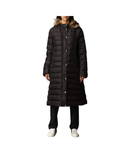 Paul & Shark Black Long down jacket with hood and detachable fur closure with double-slider zip and buttons