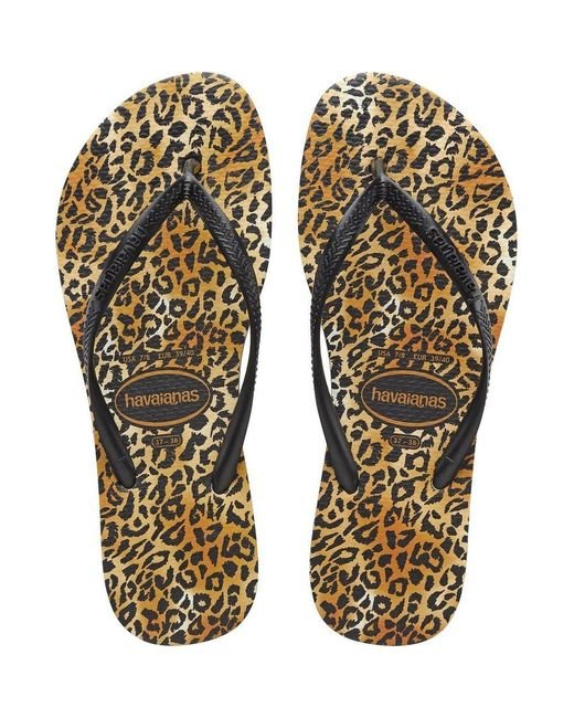 Havaianas Slim Leopard Slippers in het Black