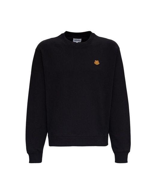 KENZO Jersey Sweatshirt With Tiger Patch in het Black voor heren