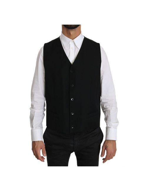 Dolce & Gabbana Waistcoat Formal Gilet Wool Vest in het Black voor heren