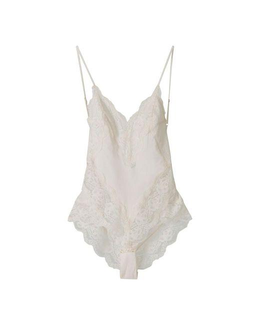 Zimmermann Lace Trim Bodysuit in het White